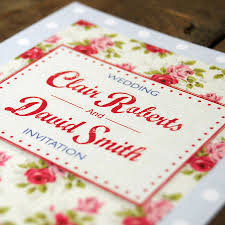 vintage floral oilcloth wedding invitation by feel good wedding