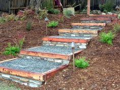 Backyard Steps Ideas Wooden Outdoor Stairs And Landscaping Steps On Slope