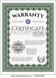 green warranty certificate template customizable easy stock vector