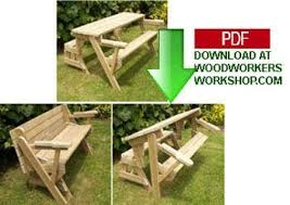 folding bench and picnic table combo pdf woodworking plan pdf