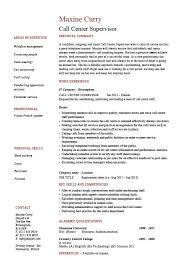 Resume Examples For Customer Service Jobs by Sensational Idea Call Center Supervisor Resume 1 Call Resume