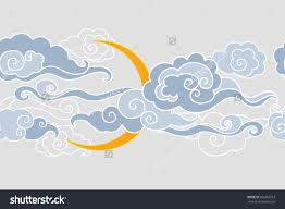 moon and clouds vector illustration seamless border 393362953