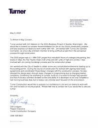 letter of recommendation format turner construction letter of recommendation