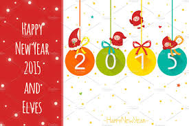 happy new year 2015 and elves card templates creative market