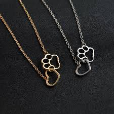 necklace love heart images Pet paw footprint necklaces cute love heart pendant necklace women jpg