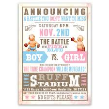 vintage gender reveal boxing baby shower invitations ian lola