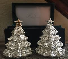 godinger silver plate christmas tree salt and pepper shakers