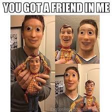 Creepy Meme - okay thats creepy like the woody on the humans face looks like it