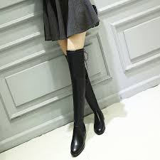 womens boots look autumn winter fashion knee boots womens pointed toe pu flat