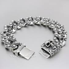 solid sterling silver bracelet images 2018 huge heavy solid 925 sterling silver skulls mens biker jpg