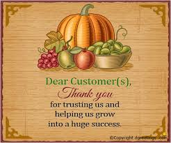 dear customer s thanksgiving letter sle cards
