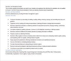 Secretary Job Description For Resume by Job Description Template U2013 47 Free Word Excel Pdf Format