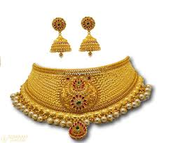 gold choker necklace sets images Gold choker jhumka earrings set with pearls stones rose converse jpg