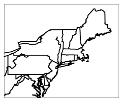 Map Of Usa Blank by Blank Map Of The Northeast Region Of The Usa Blank Map Of The