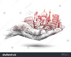 hand travel world hand monuments concept stock vector 583511242