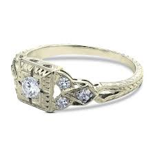 art deco engagement ring in 18k white gold gerard leon