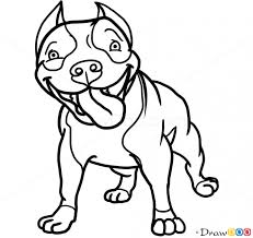 how to draw cute pit bull dogs and puppies
