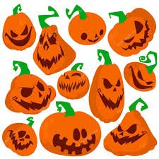 funny halloween pumpkins set vector illustration flat style
