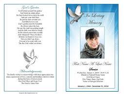 Samples Of Funeral Programs Funeral Program Template Celestial Dove