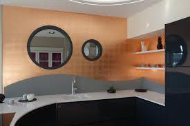 feuille de cuisine murs dorés à la feuille de cuivre naturelle pour le showroom des