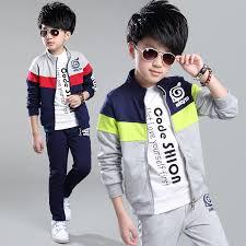tracksuit suit 2017 autumn boy mosaic sports clothing