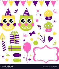 owl birthday party owl birthday party design elements set royalty free vector