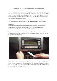 2009 2010 2011 vw passat b6 radio removal guide
