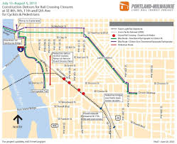 Portland Streetcar Map by Se Portland Light Rail Construction Requires Detours July 15