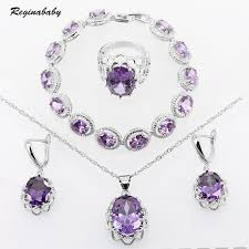 purple stone necklace set images Purple crystal stone bridal jewelry sets for women wedding cubic jpg