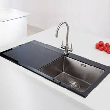 Vitrea Single Bowl Glass And Stainless Steel Kitchen Sink - Black glass kitchen sink