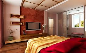 contemporary master bedroom ideas with wall mount tv over floating contemporary master bedroom ideas with wall mount tv over floating wooden stand also open shelves added mirrored wardrobe as