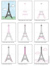 how to draw the eiffel tower art projects for kids