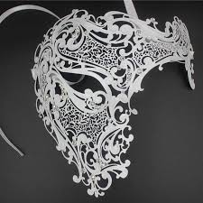 silver skull halloween mask silver black gold opera phantom metal venetian masquerade mask men
