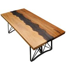 Torrance Dining Table Iron Base Live Edge Large Industrial Dining Table