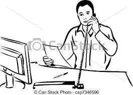 clip art vector of sketch of a man talking on the phone a sketch