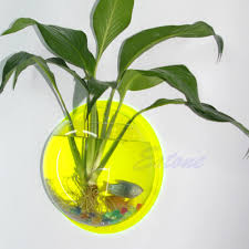 Fish Home Decor Pot Plant Wall Mounted Hanging Bubble Bowl Fish Tank Aquarium Home