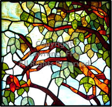 stained glass maple tree panel
