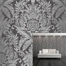 Silver Metallic Wallpaper by Crown Signature Ebony Charcoal Grey Silver Metallic Damask Feature