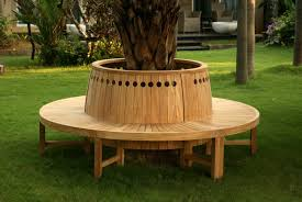 Designer Wooden Garden Bench by Outdoors Modern Wooden Tree Bench Arm Chair On Green Grass Tree