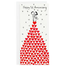 Anniversary Card Greetings Messages Happy 1st Anniversary Card With Hand Drawn Couple On Top Of A