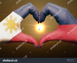 Filipino Flag Colors Tourist Made Gesture By Philippines Flag Stock Photo 99084617