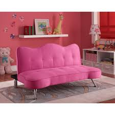 kids pink futon couch sofa girls tufted bed sleeper lounger