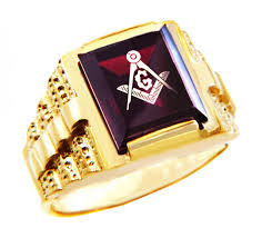 red gold rings images Men 39 s masonic gold rings the garnet square and compass gold ring jpg