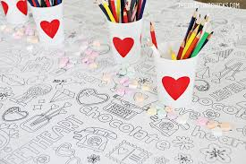 valentine u0027s coloring tablecloth crafting