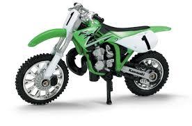 remote control motocross bike die cast green kawasaki kk 250 dirt bike 1 32 scale