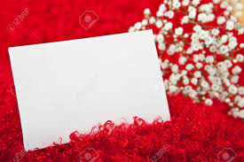 blank invitation card in white flowers on shaggy fabric stock