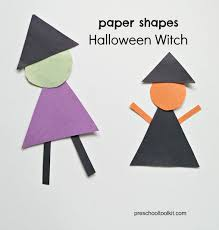 halloween witch made with paper shapes preschool toolkit