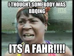 Sweet Brown Meme - i thought somebody was bbqing its a fahr sweet brown ain t