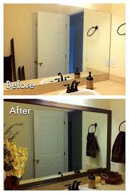 Framing Existing Bathroom Mirrors by Diy Bathroom Mirror Frame For Less Than 20 Need To Do This In My