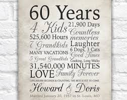 60th wedding anniversary gifts 60th anniversary etsy